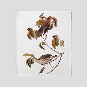 Wood Thrush Birds Vintage Audubon Throw Blanket