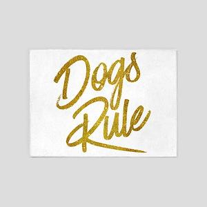 Dogs Rule Gold Faux Foil Metallic G 5'x7'Area Rug