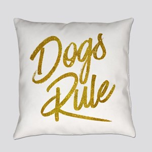 Dogs Rule Gold Faux Foil Metallic Everyday Pillow