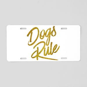 Dogs Rule Gold Faux Foil Me Aluminum License Plate