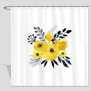 Gray And Yellow Flower Shower Curtains