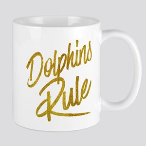 Dolphins Rule Gold Faux Foil Metallic Glitter Mugs