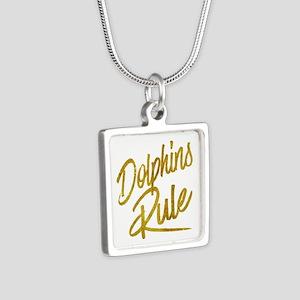 Dolphins Rule Gold Faux Foil Metallic Gl Necklaces