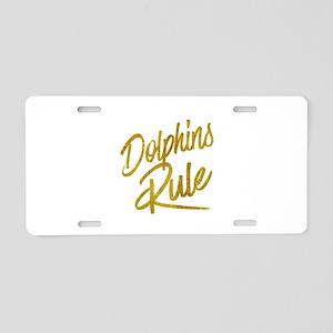 Dolphins Rule Gold Faux Foi Aluminum License Plate