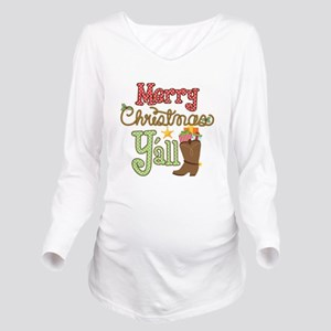 Christmas Y'all Long Sleeve Maternity T-Shirt