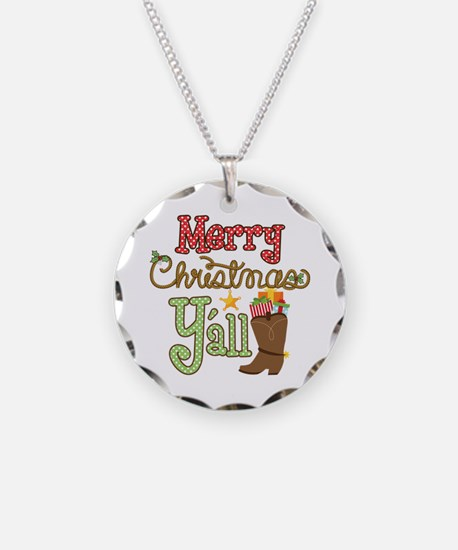 Christmas Y'all Necklace Circle Charm