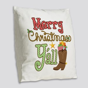 Christmas Y'all Burlap Throw Pillow