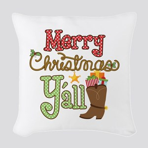 Christmas Y'all Woven Throw Pillow