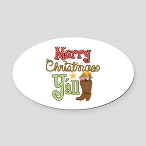 Christmas Y'all Oval Car Magnet