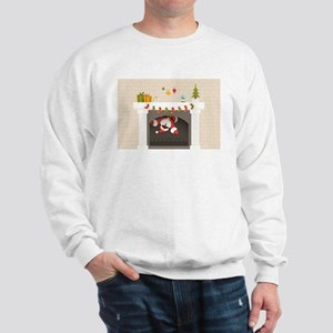 black santa stuck in fireplace Sweatshirt