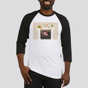 black santa stuck in fireplace Baseball Jersey