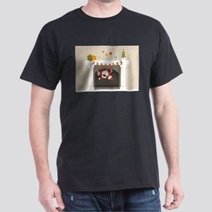 black santa stuck in fireplace T-Shirt