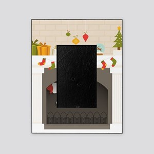 black santa stuck in fireplace Picture Frame