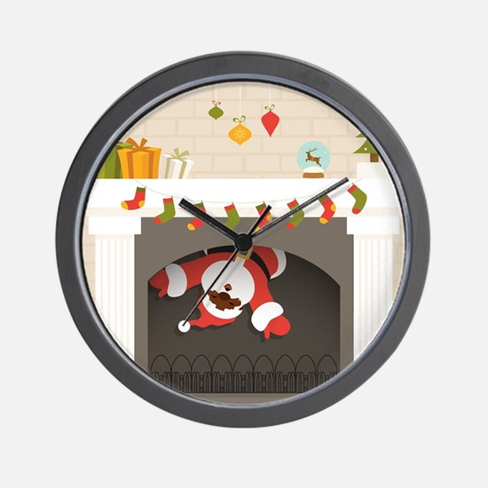 black santa stuck in fireplace Wall Clock