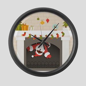 black santa stuck in fireplace Large Wall Clock