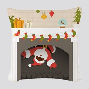 black santa stuck in fireplace Woven Throw Pillow