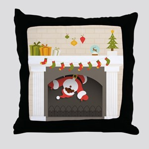 black santa stuck in fireplace Throw Pillow
