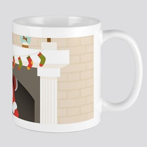 black santa stuck in fireplace Mugs