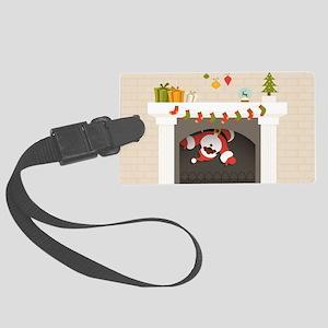 black santa stuck in fireplace Large Luggage Tag