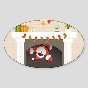 black santa stuck in fireplace Sticker