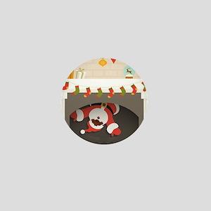 black santa stuck in fireplace Mini Button
