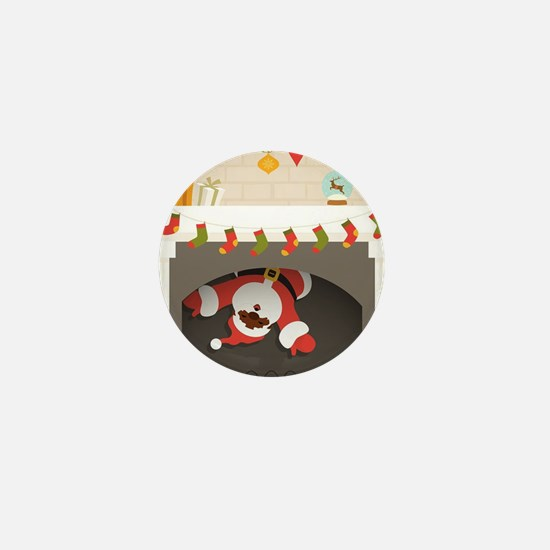 black santa stuck in fireplace Mini Button