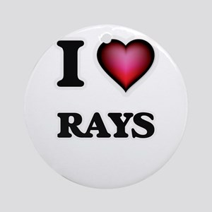 I Love Rays Round Ornament