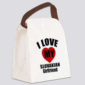 I Love My Slovakia Girlfriend Canvas Lunch Bag