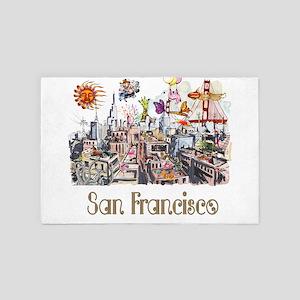 San Francisco Crazy City Rooftops 4' x 6' Rug