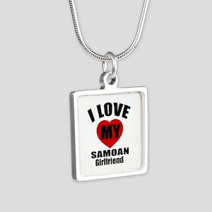 I Love My Samoa Girlfriend Silver Square Necklace