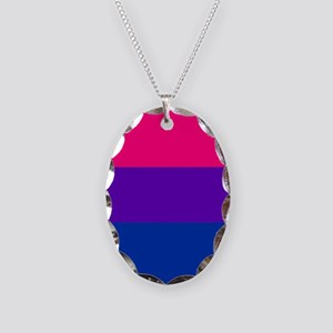 Solid Bisexual Pride Flag Necklace Oval Charm