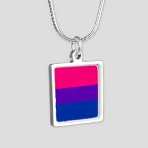 Solid Bisexual Pride Flag Silver Square Necklace