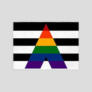 Solid LGBT Ally Pride Flag 5'x7'Area Rug
