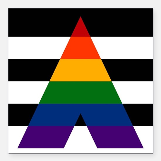 "Solid LGBT Ally Pride Fl Square Car Magnet 3"" x 3"""