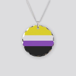 Solid Non-Binary Pride Flag Necklace Circle Charm
