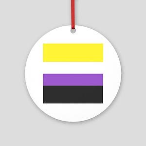Solid Non-Binary Pride Flag Round Ornament