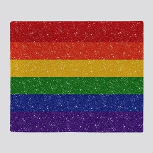 Glitter Rainbow Pride Flag Throw Blanket