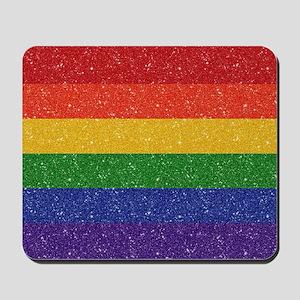 Glitter Rainbow Pride Flag Mousepad