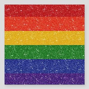 "Glitter Rainbow Pride Fl Square Car Magnet 3"" x 3"""
