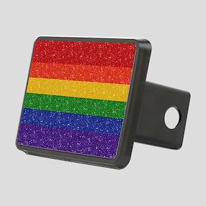 Glitter Rainbow Pride Flag Rectangular Hitch Cover