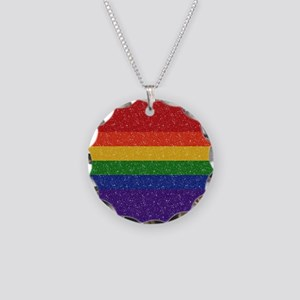 Glitter Rainbow Pride Flag Necklace Circle Charm