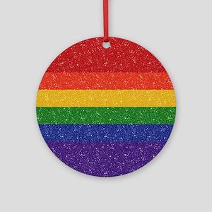Glitter Rainbow Pride Flag Round Ornament
