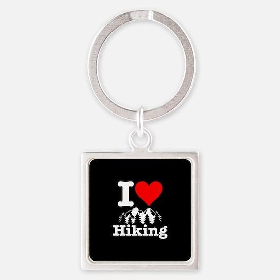 I Heart Hiking Square Keychain