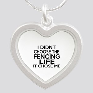 Fencing It Chose Me Silver Heart Necklace