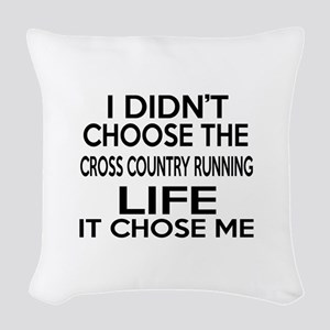 Cross Country Running It Chose Woven Throw Pillow