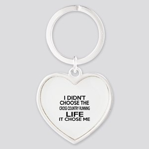 Cross Country Running It Chose Me Heart Keychain