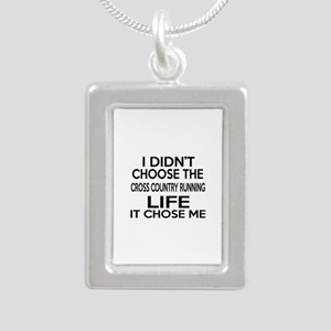 Cross Country Running It Silver Portrait Necklace