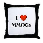 I Love MMOGs Throw Pillow