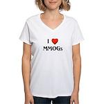 I Love MMOGs Women's V-Neck T-Shirt