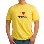 I Love MMOGs Yellow T-Shirt